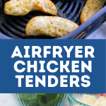 An airfryer basket with cooked chicken tenderloins, and a photo of the cooked, chopped chicken ready for being added to a dinner.