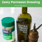 A graphic that shows the simple three ingredients needed to make lemon parmesan dressing.