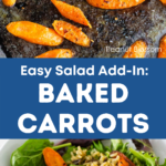 A graphic that shows the roasting pan on top and the finished salad with roasted carrots below.