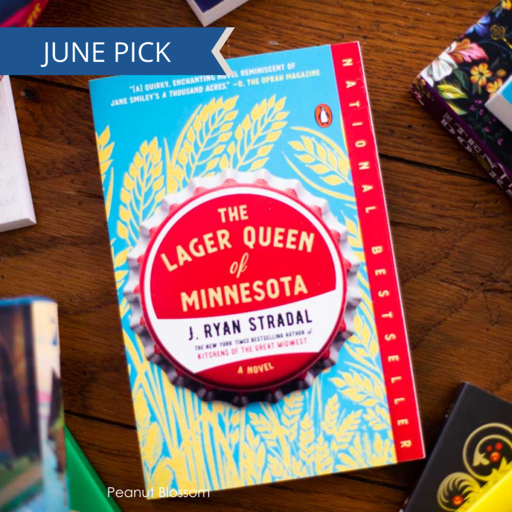 A copy of The Lager Queen of Minnesota sits on a table.
