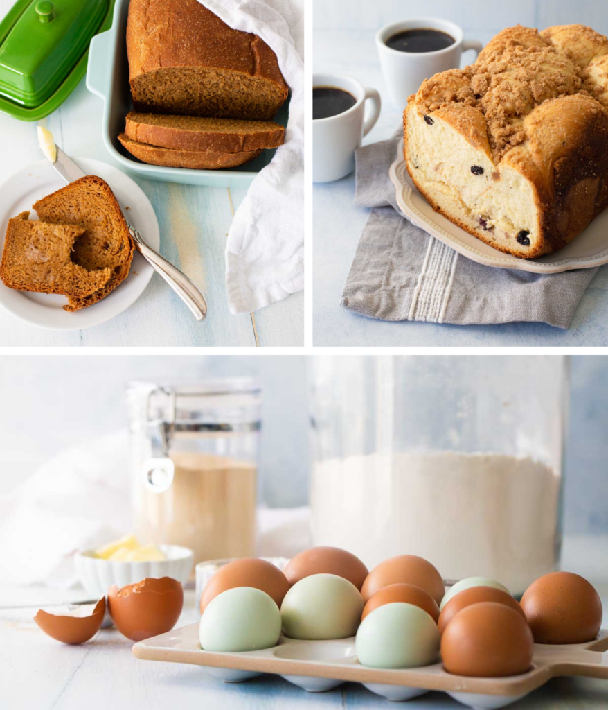 A collage of photos from The Ultimate Bread Machine Cookbook