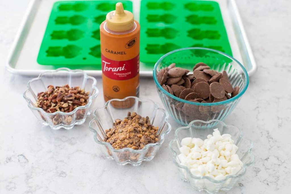 The ingredients and tools for making homemade chocolate frogs are on the kitchen counter.