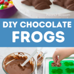 A photo collage that shows the steps to make homemade chocolate frogs.
