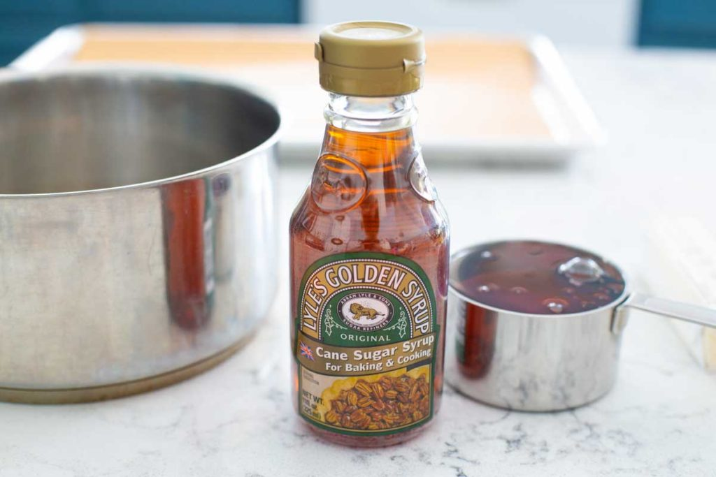 A close up of the bottle of Lyle's Golden Syrup