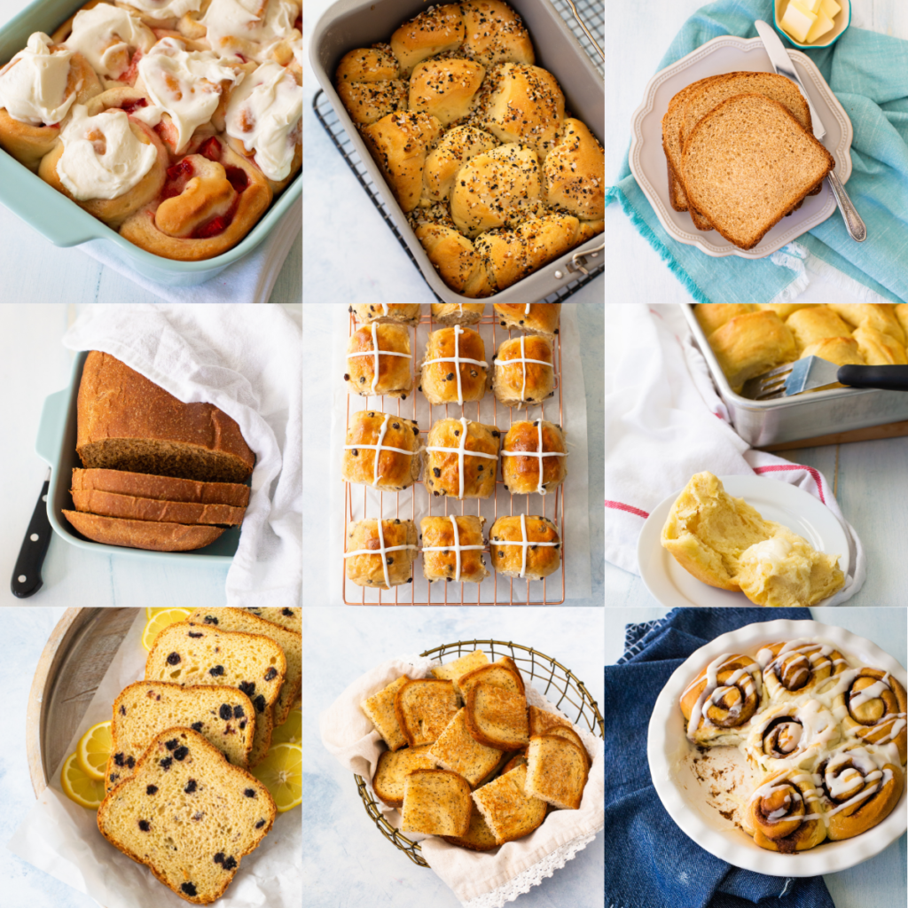 A photo collage shows the variety of recipes that can be made in a bread maker.