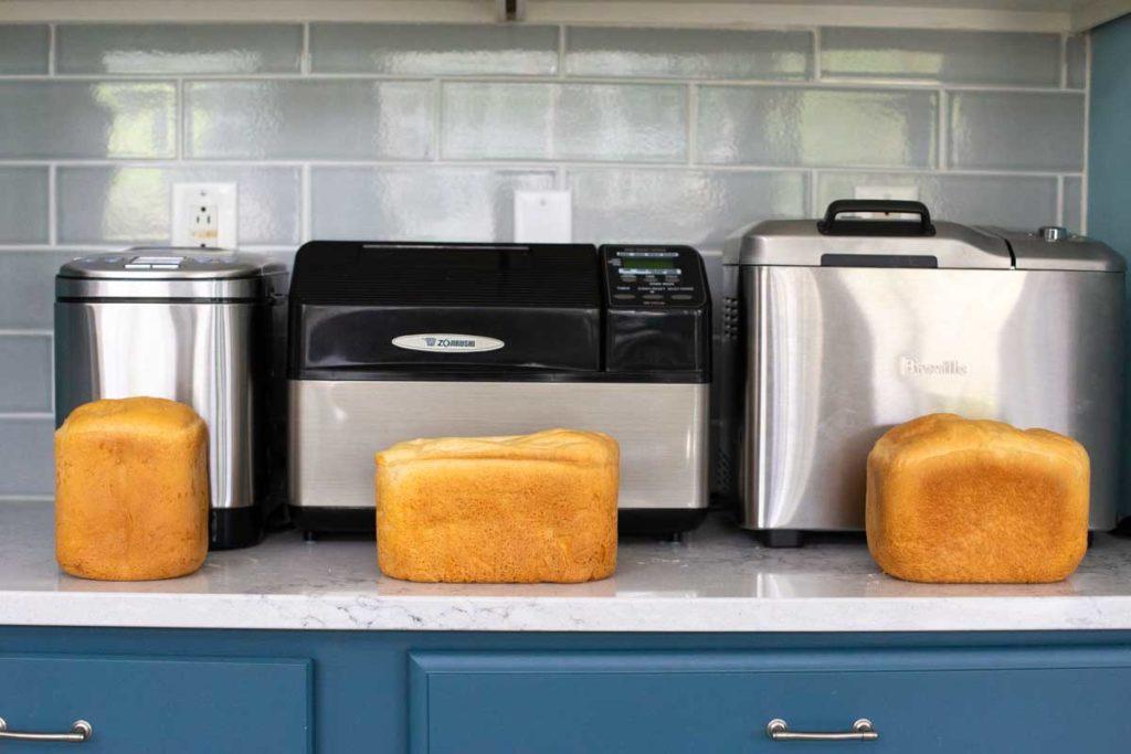 A comparison of the same recipe in three different bread machines.