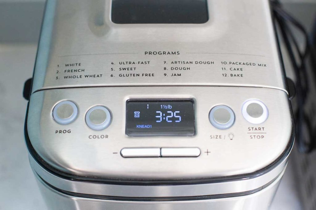 A close-up of the Cuisinart programming options and buttons.