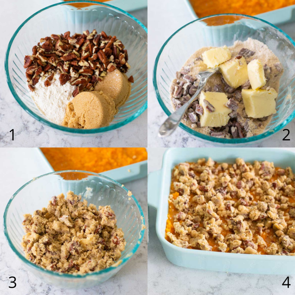 Step by step photos show how to make the pecan streusel topping for the sweet potato casserole.