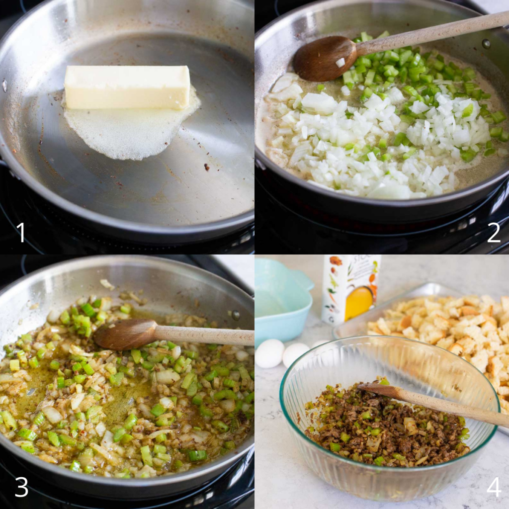 A step by step photo shows how to saute the onions for the stuffing.