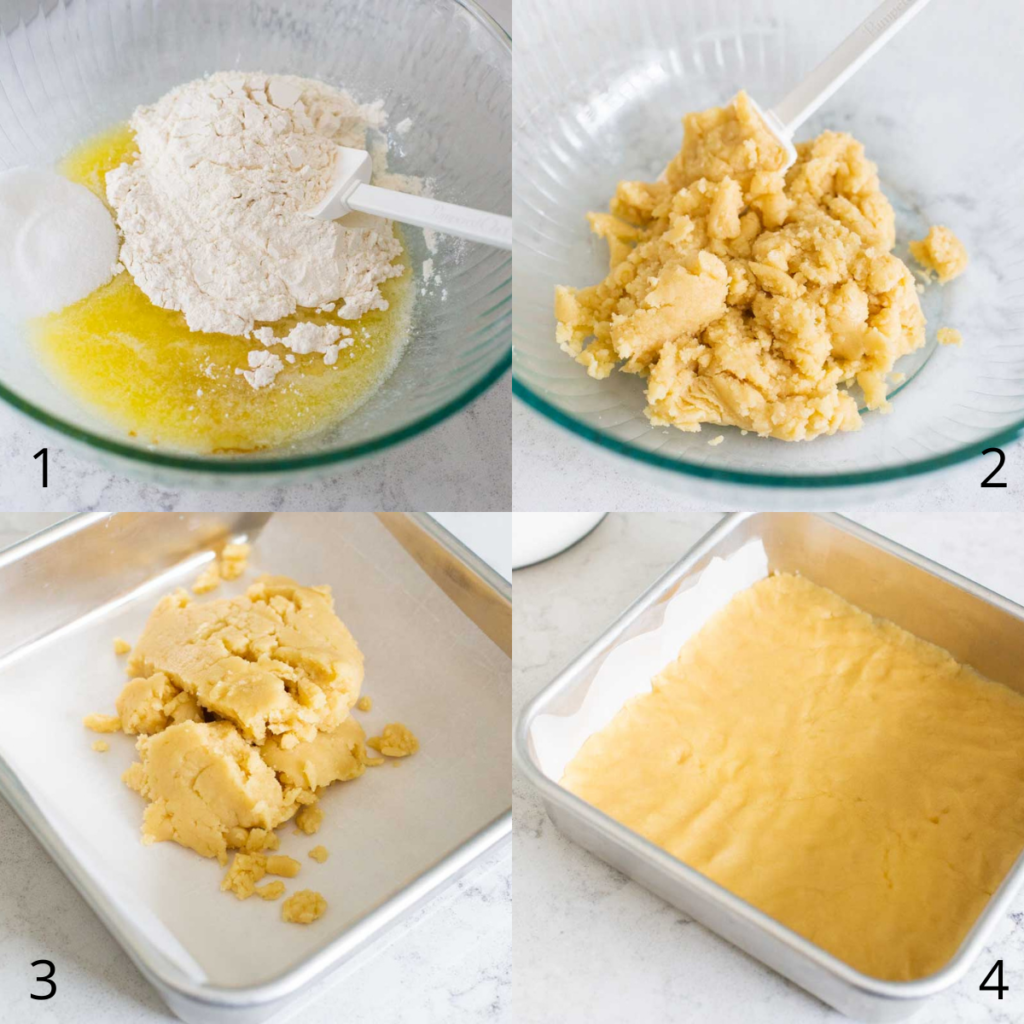 Step by step photos show how to assemble the shortbread crust.