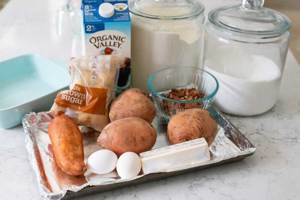 The ingredients for the sweet potato casserole are on the counter.