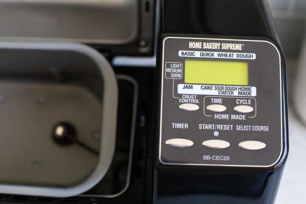 A close-up of the Zojirushi bread machine program options.