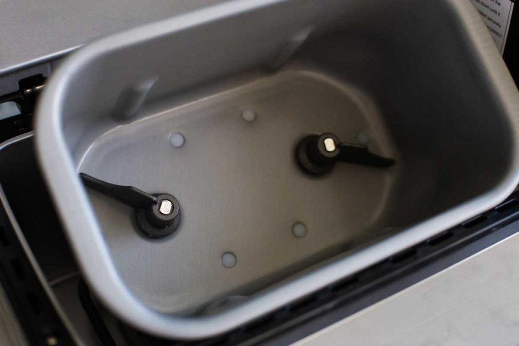 The Zojirushi bread pan has two paddles for mixing.