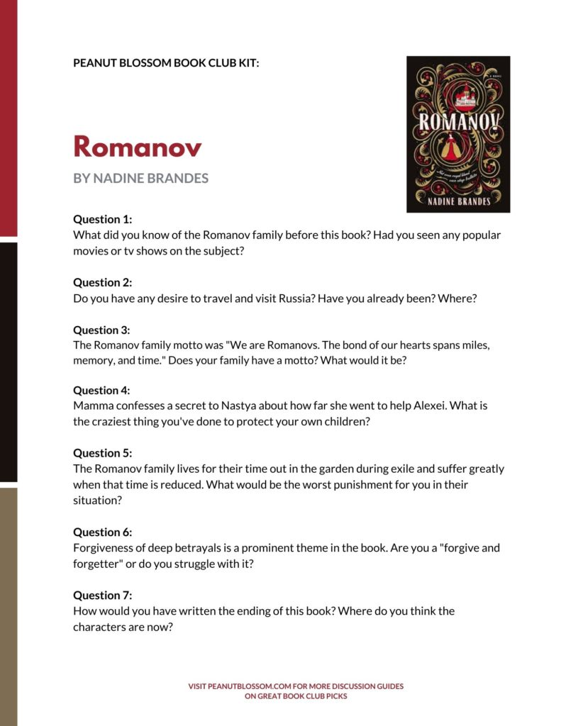 A preview of the printable book club discussion guide for Romanov.