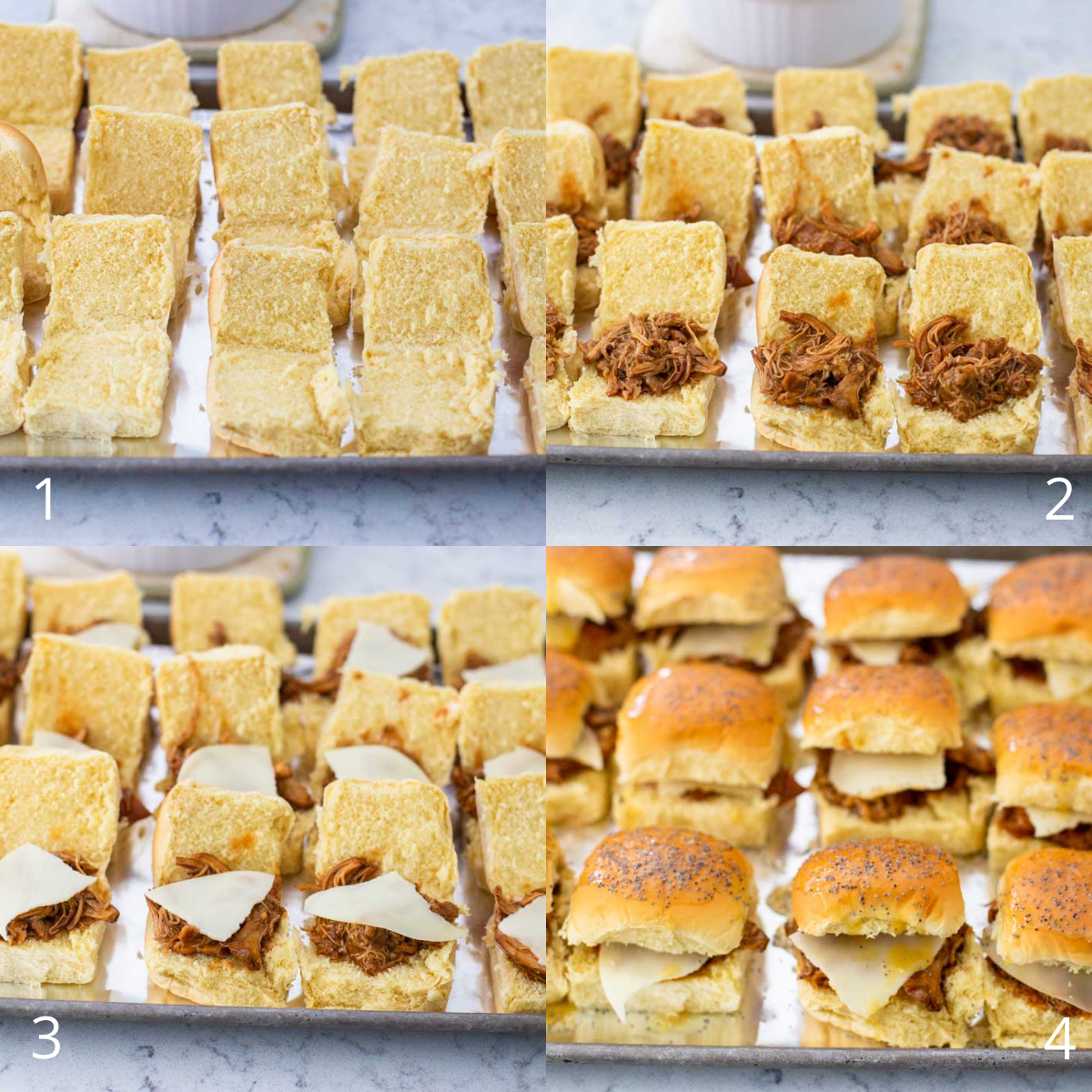 Step by step photos show how to assemble the BBQ chicken sliders.