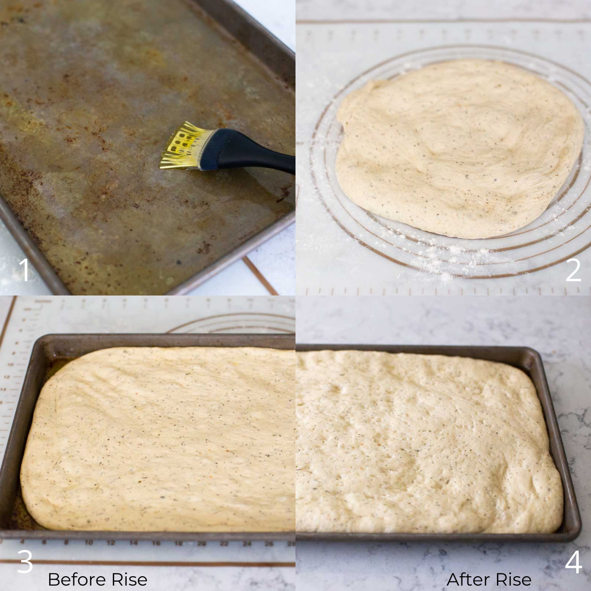 The step by step photos show how to pat out the focaccia dough and place it in the baking pan for the rise.