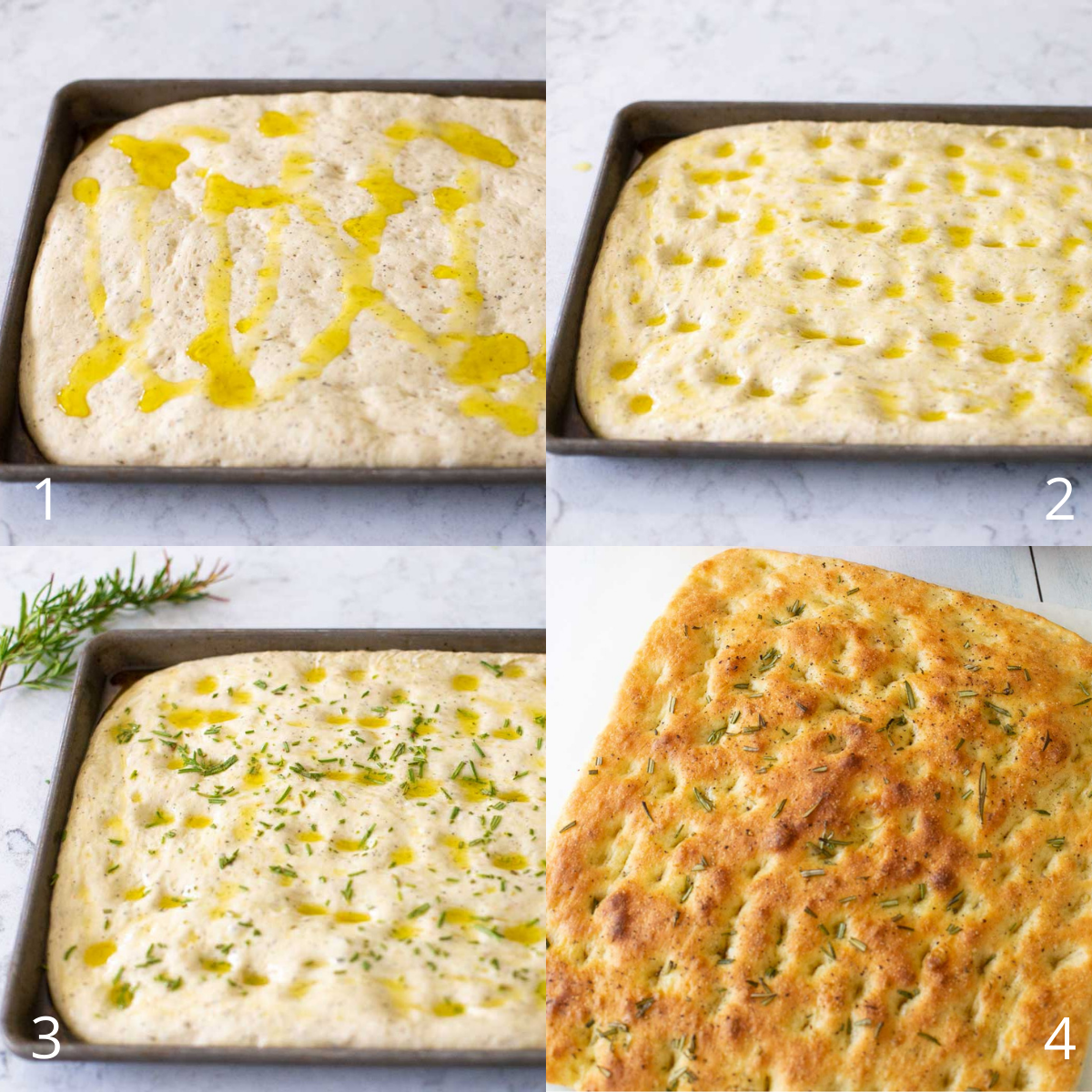 Step by step photos show how to spread the olive oil over the risen focaccia, press indents over the surface, sprinkle with herbs, and bake.