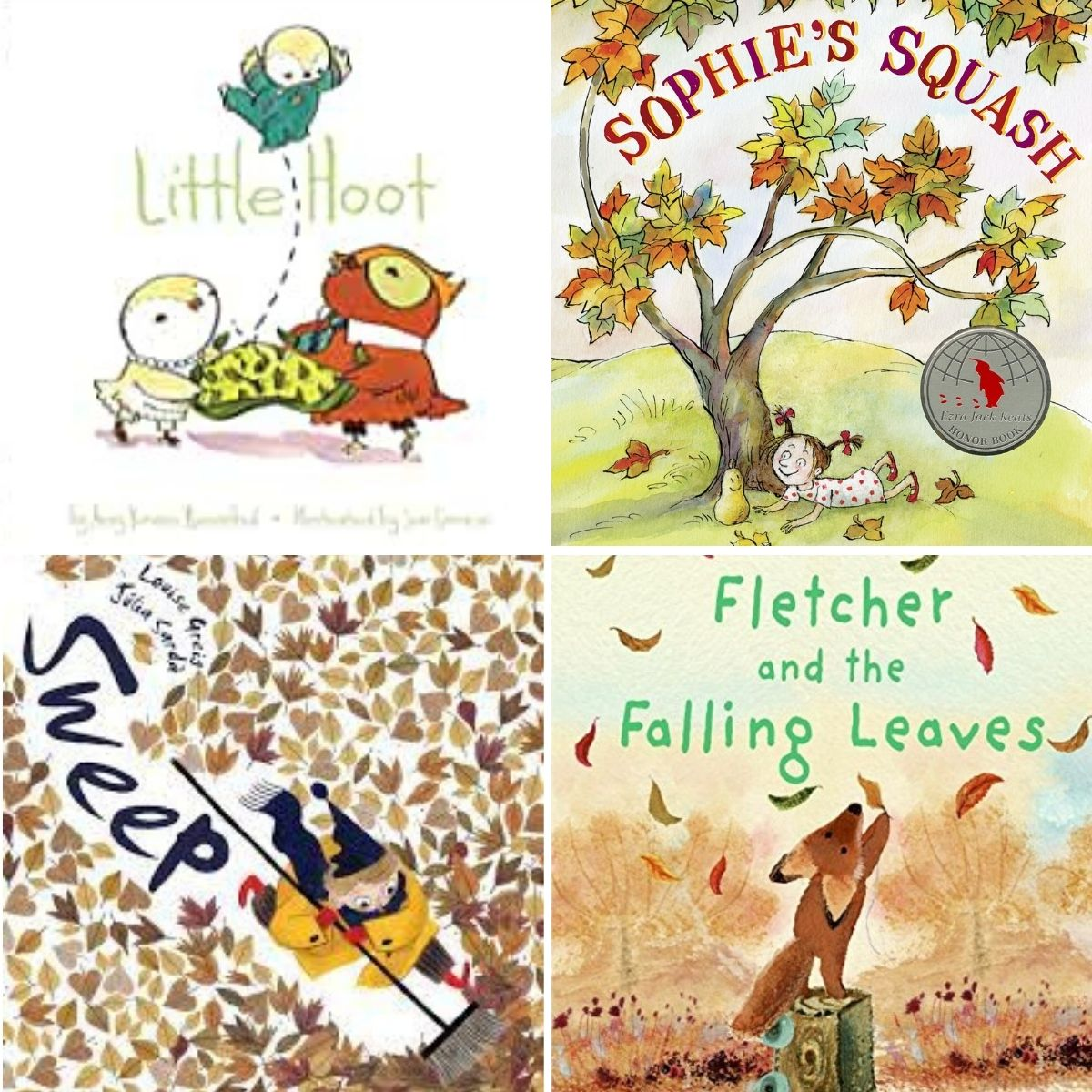 A photo collage of several lovely fall picture books to read aloud to kids.