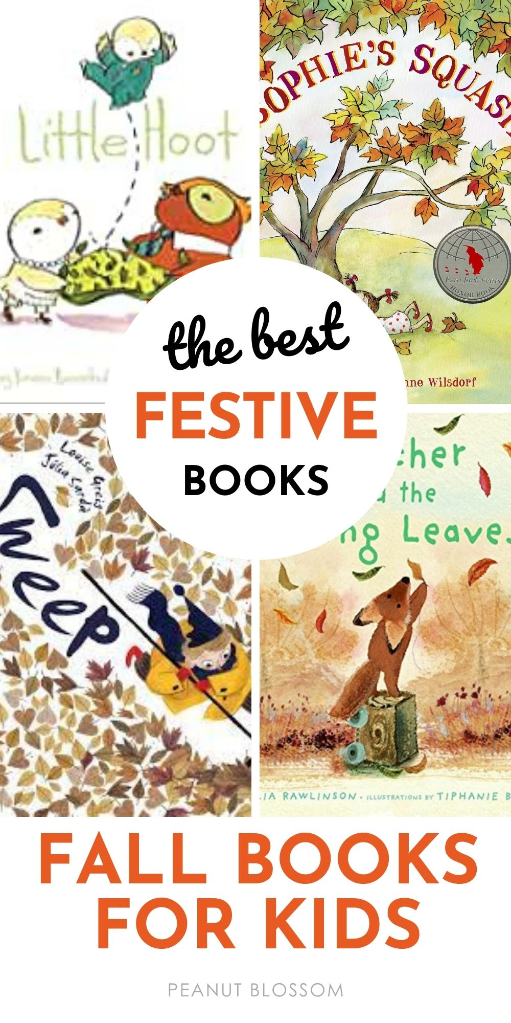 A book collage of the prettiest fall books for kids.