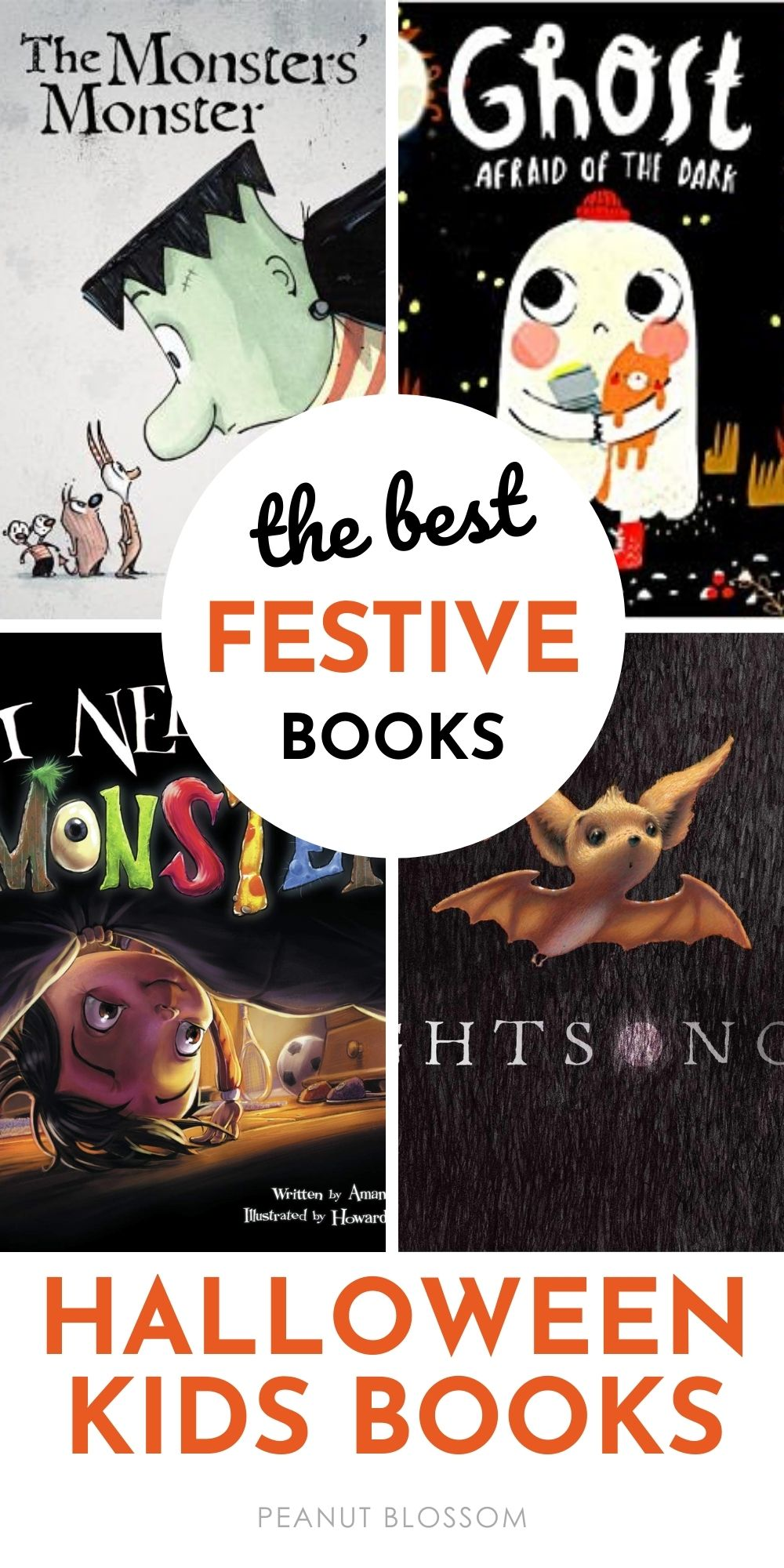 A book collage of the prettiest Halloween books for kids.
