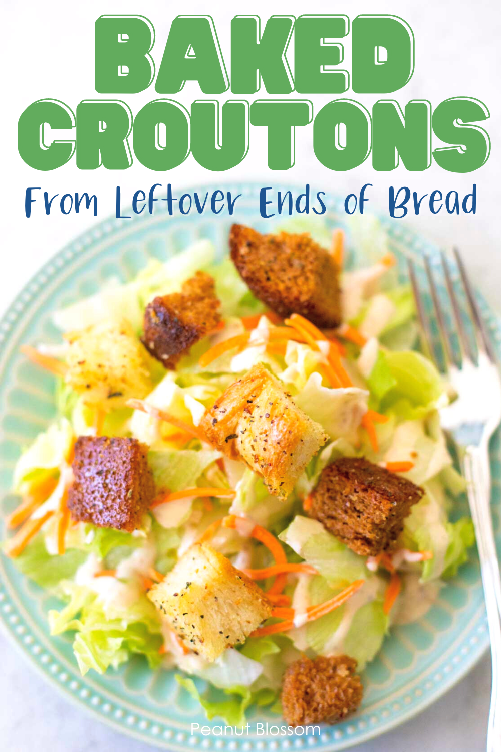 A green salad shows a mix of baked croutons sprinkled over the top.