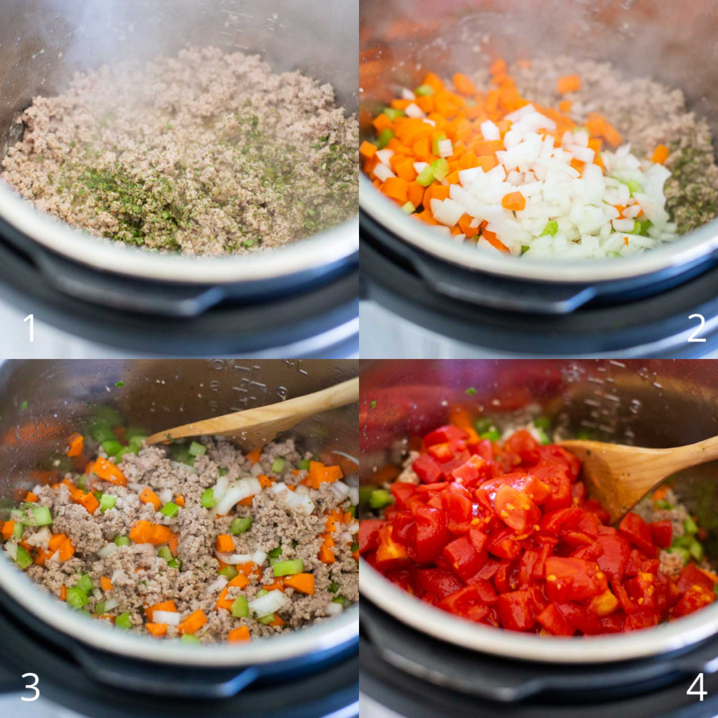 Step by step photos show how to assemble the ground turkey soup inside the Instant Pot.