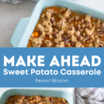 2 pans of sweet potato casserole have been prepped -- one has foil for the freezer, the other is ready for the oven.