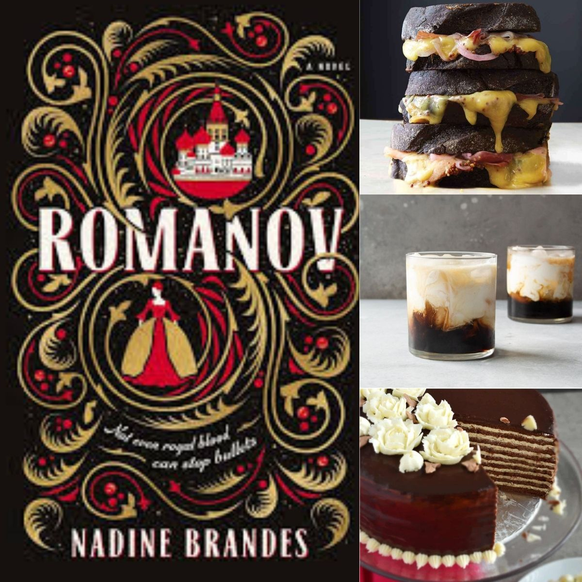 A collage of foods inspired by the book Romanov by Nadine Brandes