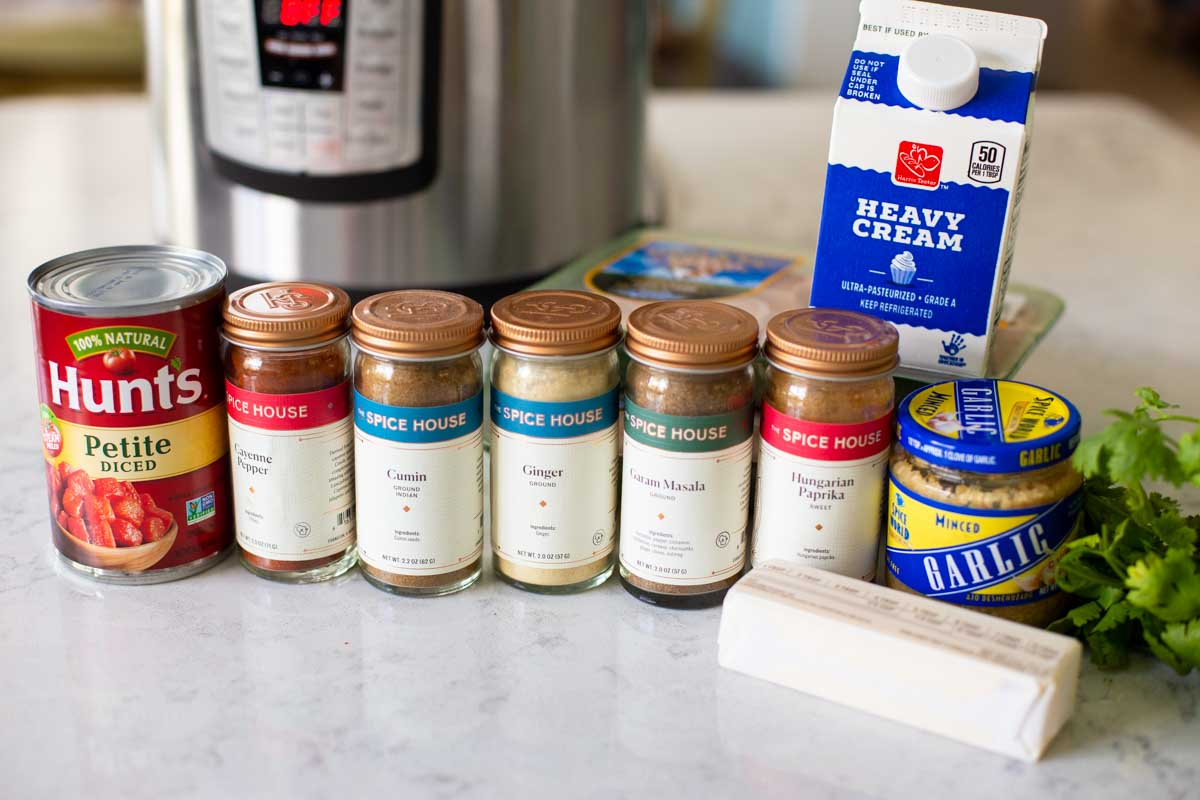 The spices to make butter chicken are lined up on the counter in front of an instant pot.