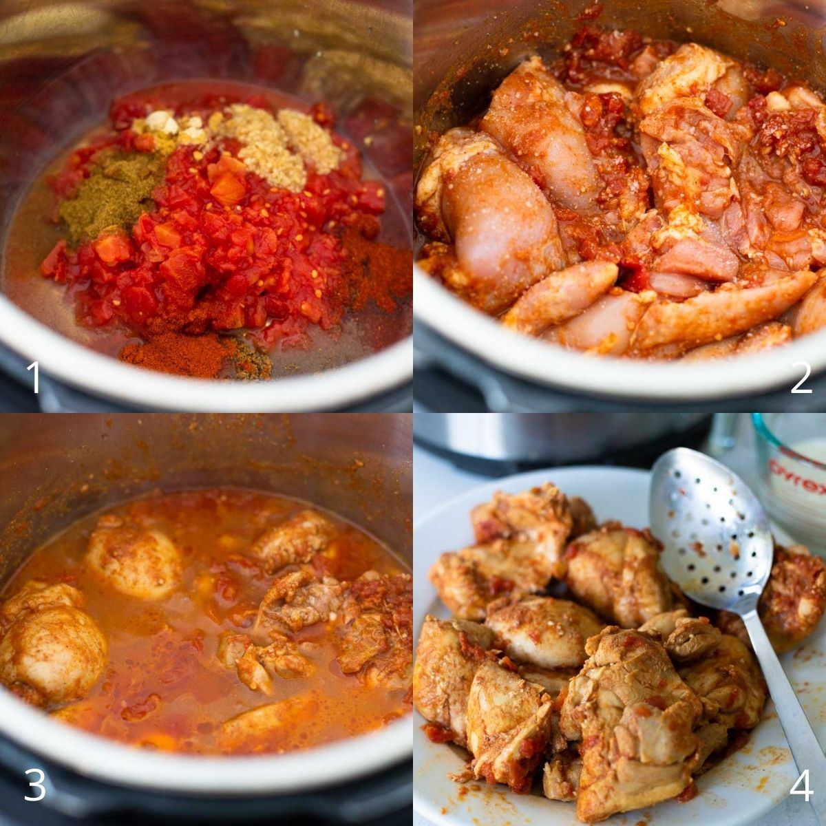 Step by step photo collage shows how to add the tomatoes and spices and chicken and cook them in the Instant Pot.