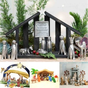 A collage of different Nativity sets for families